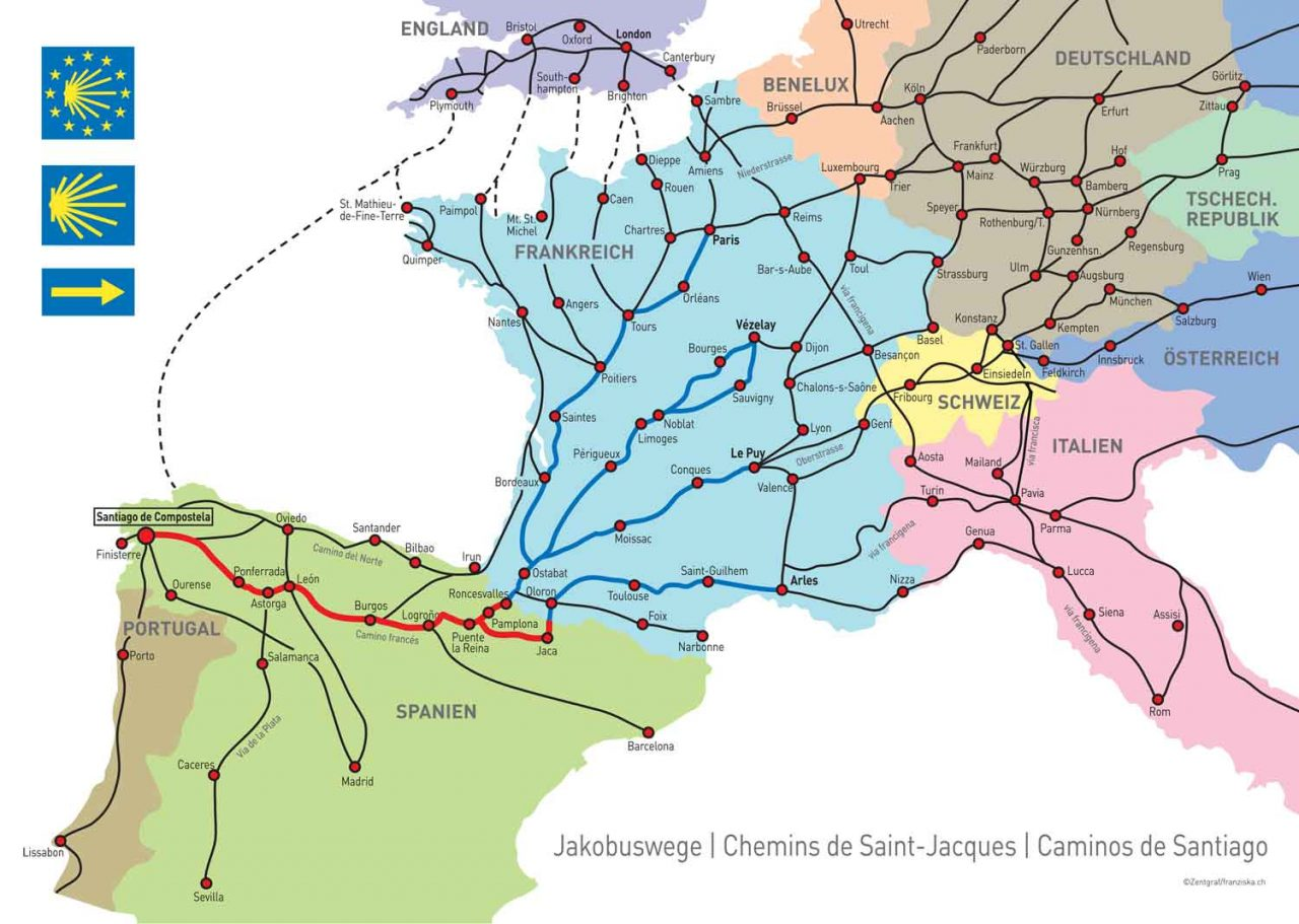 Karte Jakobsweg Europa