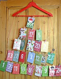 Homemade Paper Envelope Advent Calendar - Pillar Box Blue