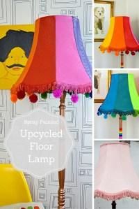 Colourful Spray Painted Upcycled floor lamp - Pillar Box Blue