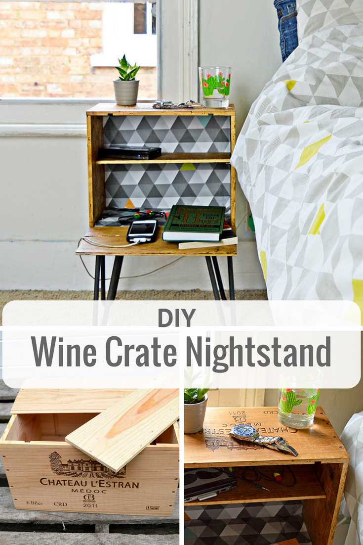 Diy Nightstand From An Old Wine Crate Pillar Box Blue