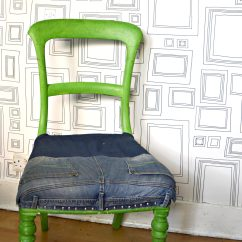 Reupholster Dining Room Chair Seat Wedding Covers Middlesbrough Ikea Hack - Skruvsta Denim Upcycle Pillar Box Blue
