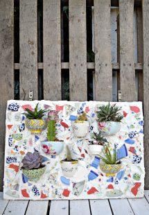 Make Stunning Wall Planter Broken Plates