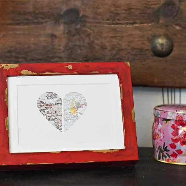 Framed paper map heart for a lovely personalized map gift