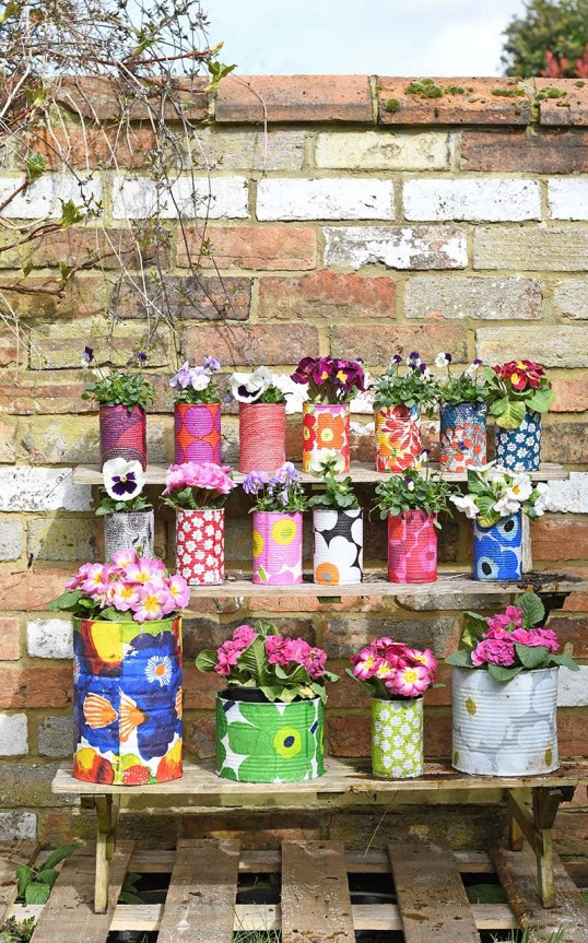 Marimekko Decorative Tin Can Planters by Pillar Box Blue