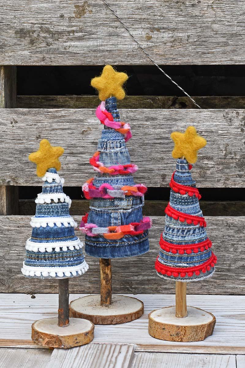 Tutorial: Upcycled Denim Christmas Trees
