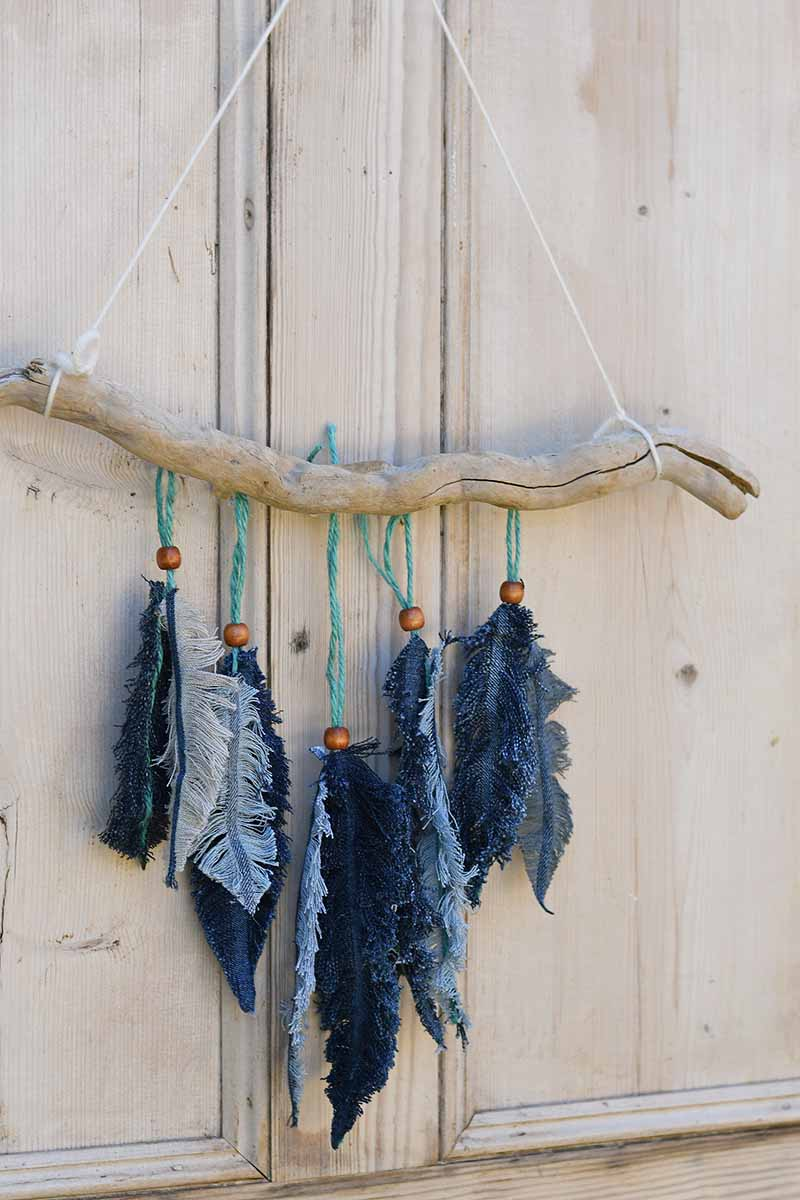 Sewing Tutorial Repurposed Denim Feather Wall Hanging