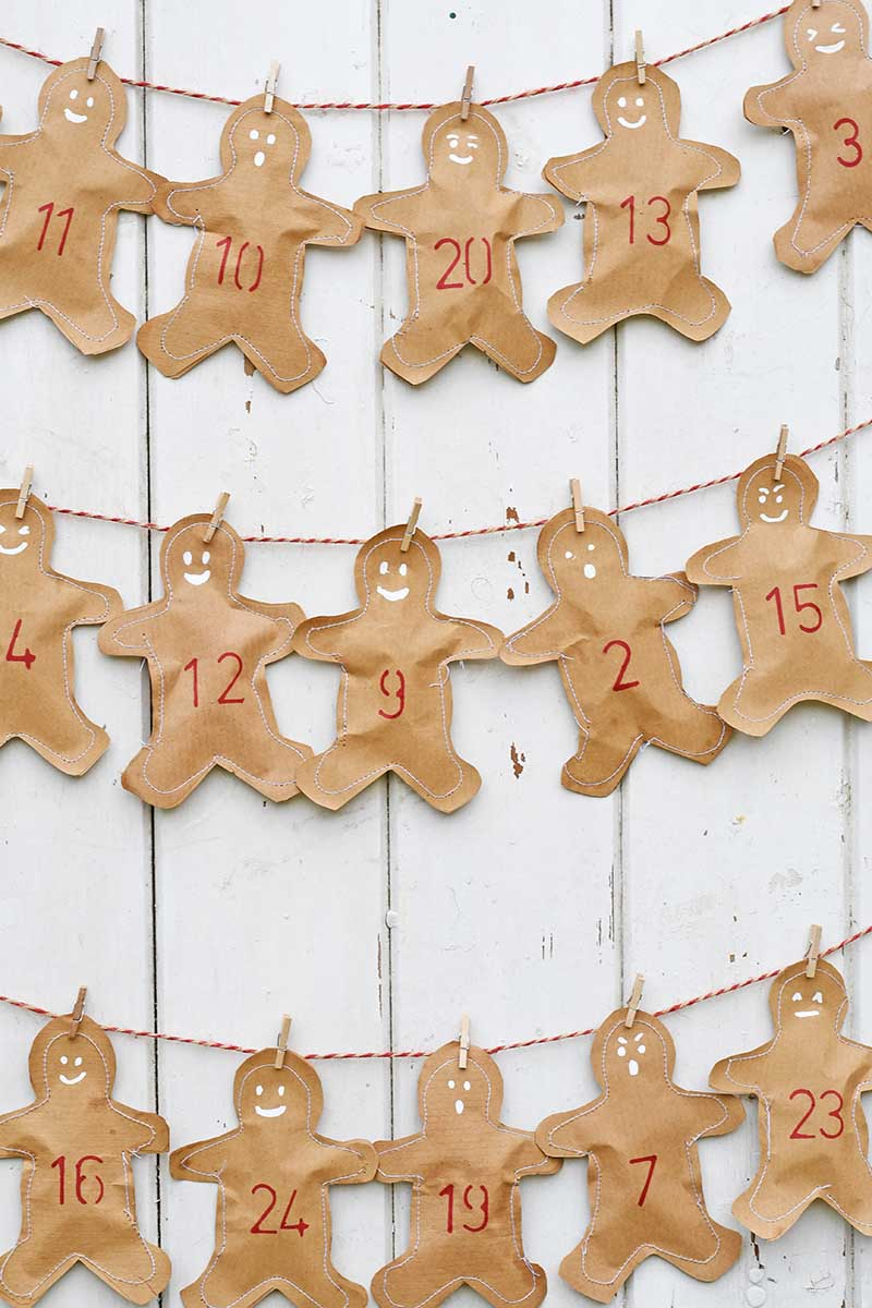 Sewing tutorial: Kraft paper gingerbread man Advent calendar