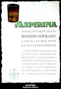 Vecchio cartellone pubblicitario dell'Aspirina (Bayer)