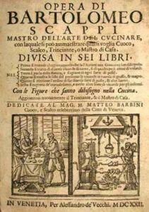 Opera dell'arte del cucinare di Bartolomeo Scappi, 1570 (da www.taccuinistorici.it)