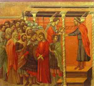 "& Quot; Pôncio Pilatos lava as mãos"" por Duccio di Boninsegna (1257-1318)"