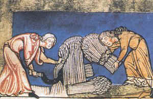 "Donne medievali che svolgono lavori ""pesanti"""