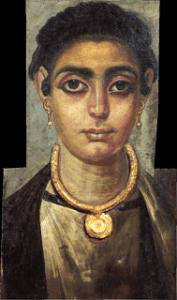 Las mujeres de la antigua Grecia con el maquillaje de ojos acentuado