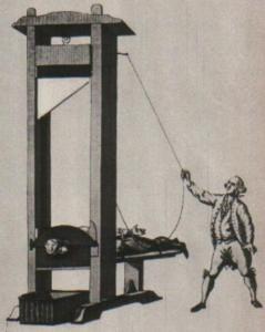 die Guillotine (von einem Vintage-Print)