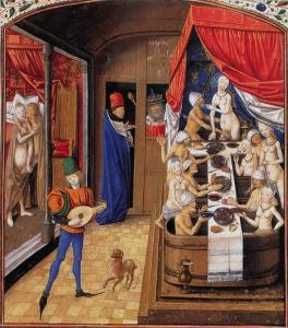 Los baños públicos medievales en Borgoña. Los hombres y las mujeres lavan juntas, el más rico comer mientras se baña