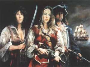 imaginativas del retrato de Anne Bonny, Mary Read e Calico Jack