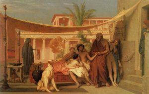 Sócrates y Alcibíades en casa de Aspasia, pintura de Jean-Léon Gérôme. La prostitución en la antigua Grecia era una amplia y diversificada