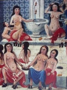 Un bagno pubblico arabo o hammam nel Medioevo