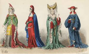 "Acconciature medievali, tra cui quella ""a corna"""