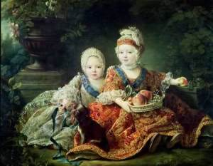 Luigi XVI bambino ritratto insieme al fratello minore (futuro Luigi XVIII)