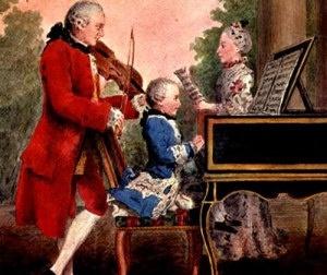 Mozart com seu pai e irmã