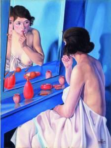 """""""Donna allo specchio"""" di Cagnaccio da San Pietro (1927). Per la pelle e il colorito si usavano rimedi naturali"""