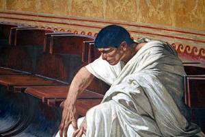 Lucio Sergio Catilina ascolta l'arringa pronunciata contro di lui da Cicerone (particolare di un dipinto)