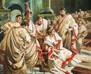 Killing Caesar. The words addressed to Brutus is just one of many invented phrases (or manipulated) of history?