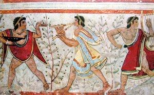 Etrusker mit Olivenbäumen. Für die Etrusker Olivenöl war es auch ein Medikament