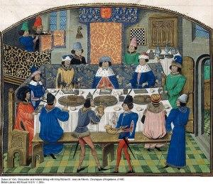 Tavola natalizia medievale. Le salse erano molto usate nella cucina del Medioevo