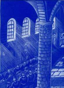 Mensa em um convento. O Acquacotta era um prato comum na Idade Média