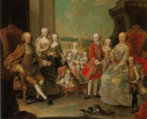 Maria Teresa d'Austria circondata dalla sua numerosa famiglia. La piccola nella culla è Maria Antonietta, che avrebbe riempito di rimproveri durante l'adolescenza