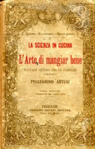 Portada del libro de cocina por Pellegrino Artusi (1891) da cui è tratta la ricetta della salsiccia con l'uva