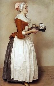 La muchacha con el chocolate (una pintura de '700). María Antonieta de Austria, poco antes de ser guillotinado el 16 octubre 1793, Se pidió y consiguió una última taza de chocolate caliente