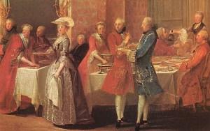 Um pasto para cortar. Uma refeição de pratos e especiarias exóticas, Ele custa para Marie Antoinette e outros poucos dias nobres da dieta forçada