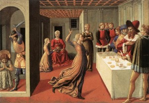 Salome dances for Herod Antipas in a painting by Benozzo Gozzoli