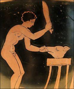 Un antiguo griego que lucha con un cerdo para comer. El cerdo fue cocinado de diferentes maneras