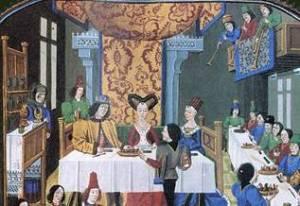 Banquete medieval. Na época as aves, incluindo o guindaste, Eles foram considerados iguarias