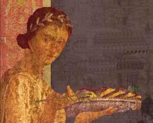 Una mujer de la antigua Roma trae comida en la mesa (particular de un fresco)