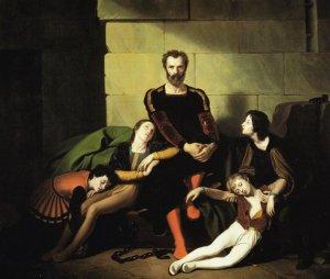 O Conde Ugolino na prisão. pintura do século XIX por Giuseppe Diotti
