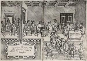 """Illustrazione dell'Opera dell'arte di cucinare di Bartolomeo Scappi. Nel ricettario si parla anche di una """"pizza"""" molto diversa da quella che conosciamo oggi"""