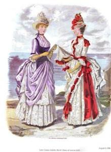 do século XIX moda feminina. Le gonne erano lunghe