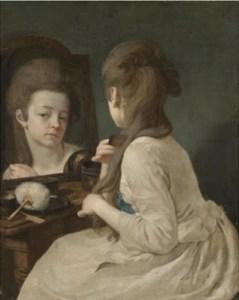 Uma senhora no espelho. O uso do pó foi proibido durante a Revolução Francesa