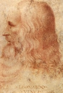 Profile of Leonardo da Vinci. Among his many passions there was also the kitchen