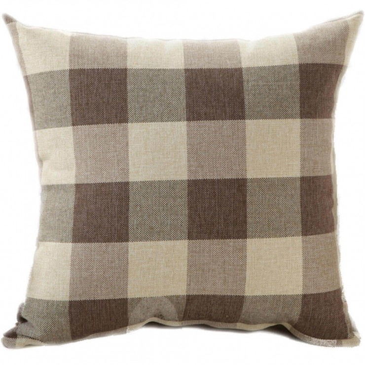 buffalo check gingham plaid light brown and cream reversible decorative throw pillow