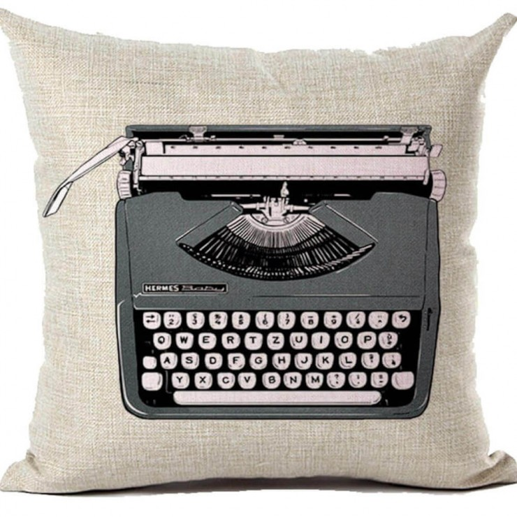 retro inspired vintage hermes baby typewriter decorative throw pillow