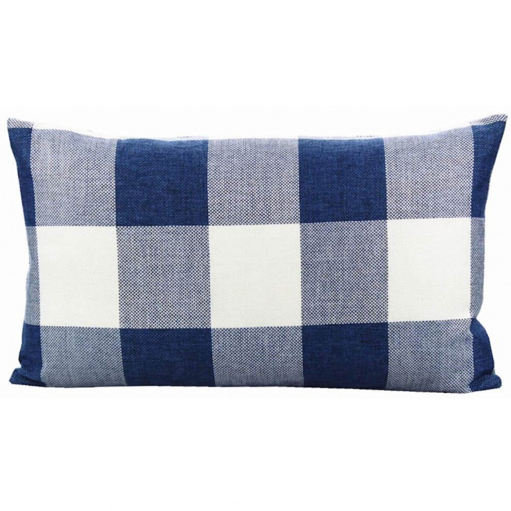 buffalo check gingham plaid blue and cream double sided reversible lumbar pillow