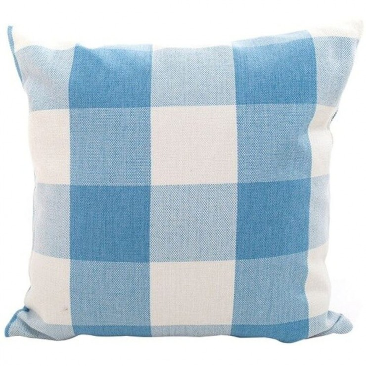 buffalo check gingham plaid pastel blue and cream double sided decorative throw pillow