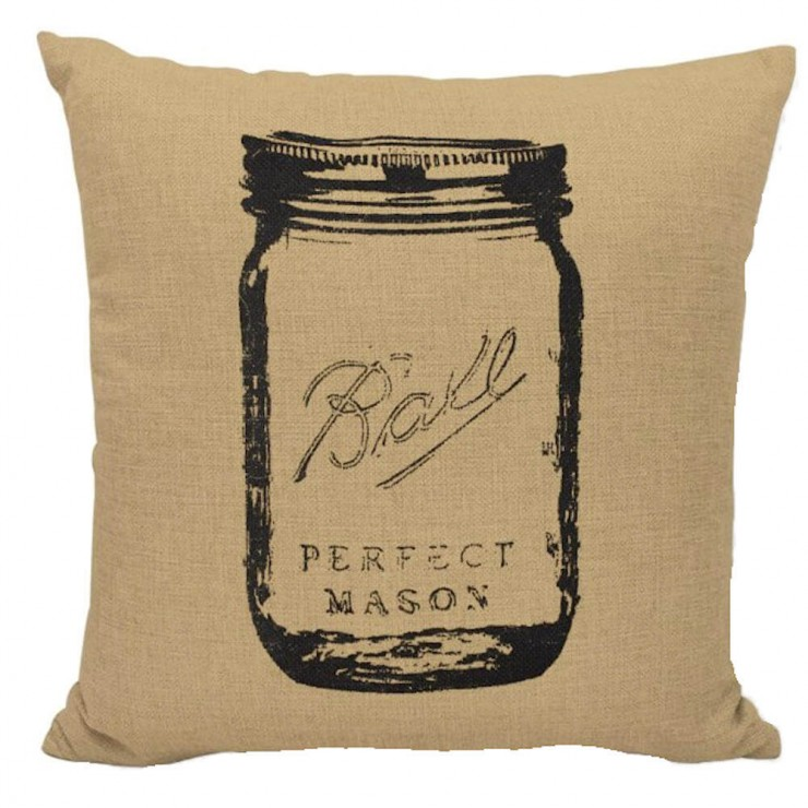 mason jar farmhouse burlap decorative throw pillow