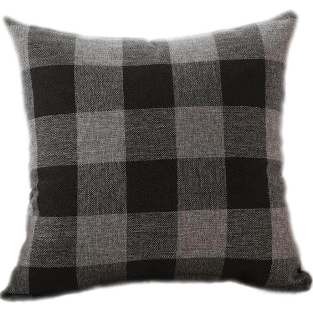 buffalo check gingham plaid black and gray reversible decorative throw pillow