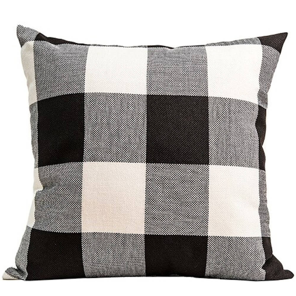 buffalo check plaid gingham plaid black and ivory double sided reversible decorative throw pillow